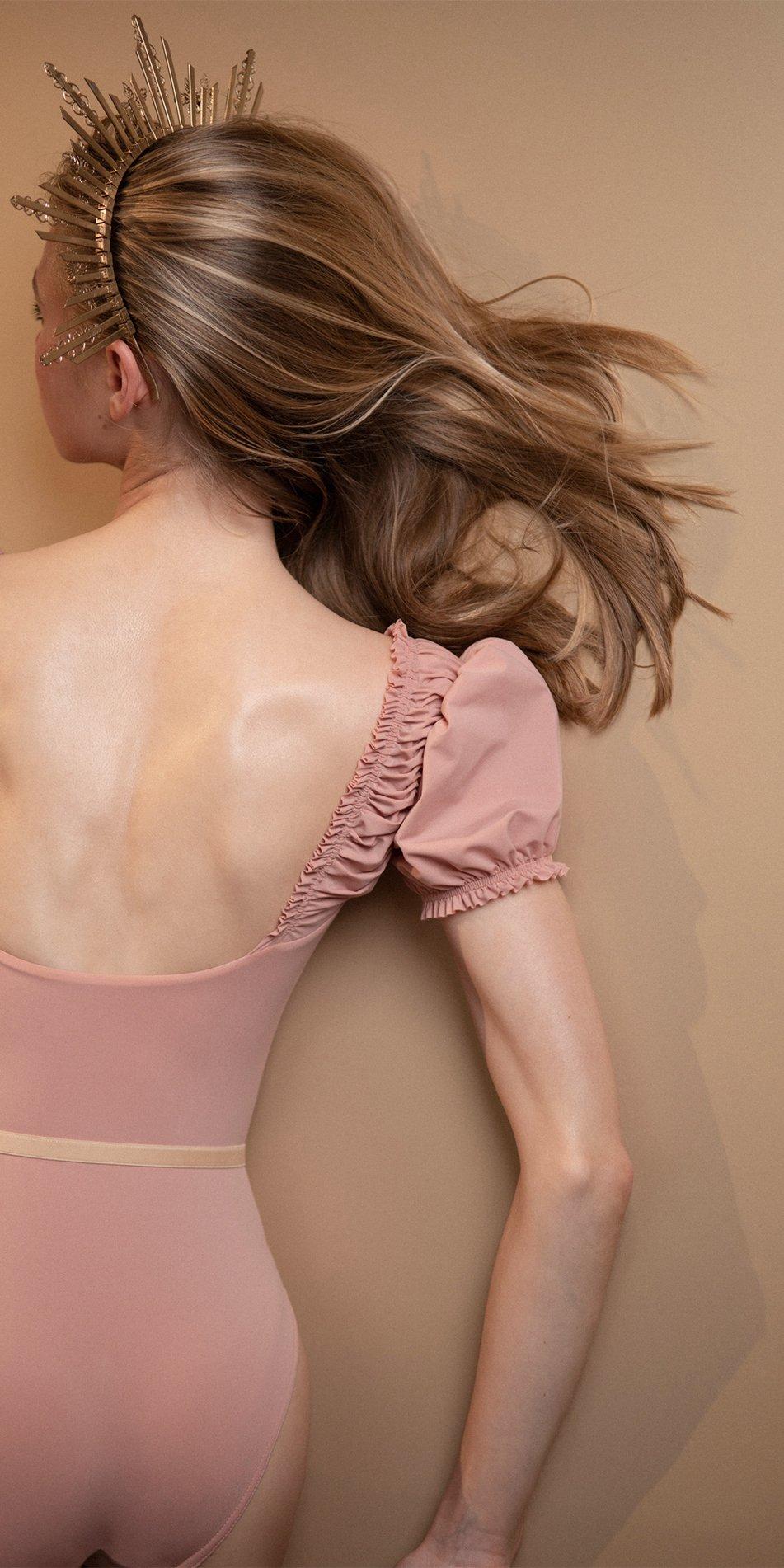 MAIDEN blush leotard with short puff sleeves 5
