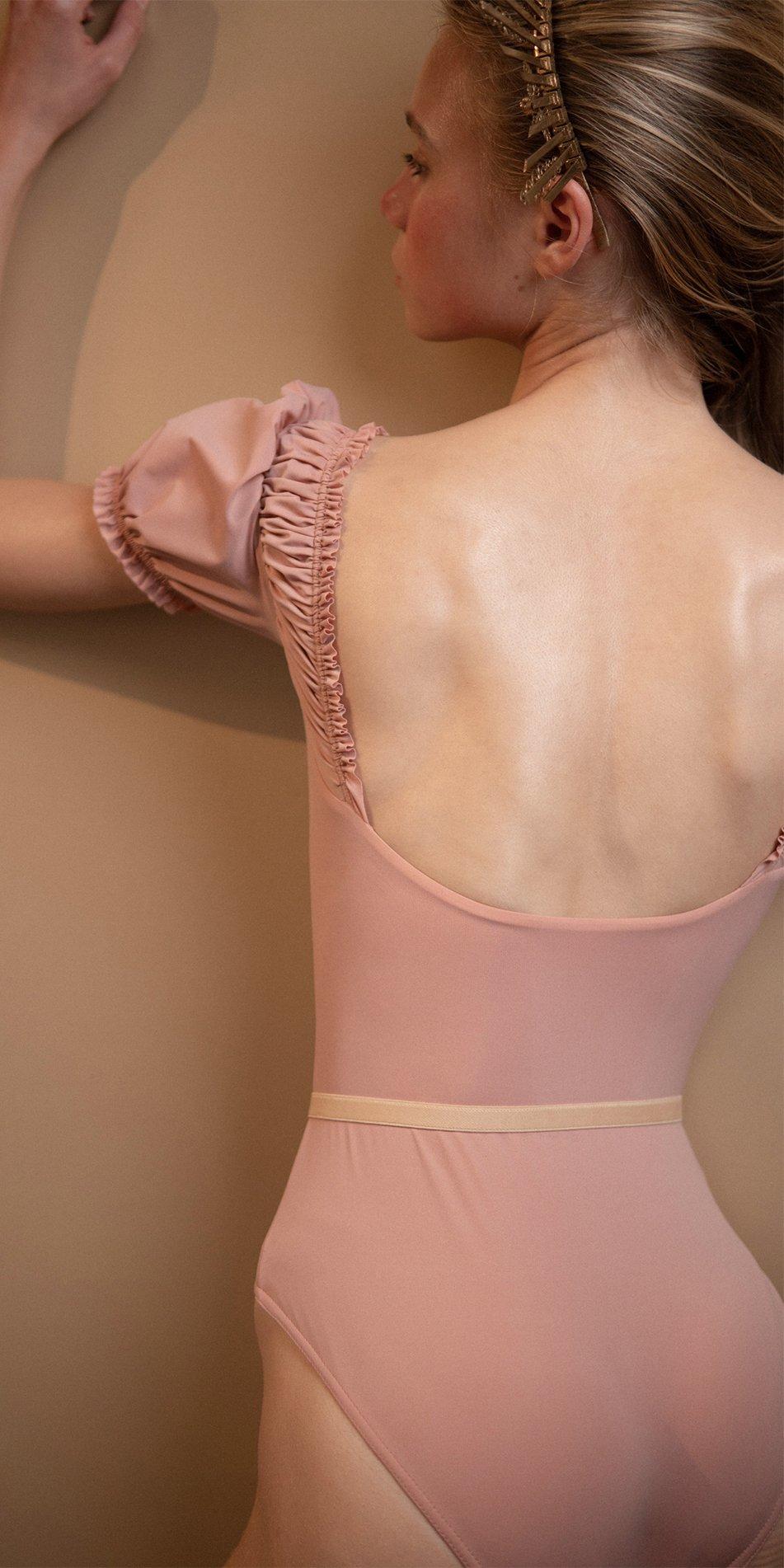 MAIDEN blush leotard with short puff sleeves 6