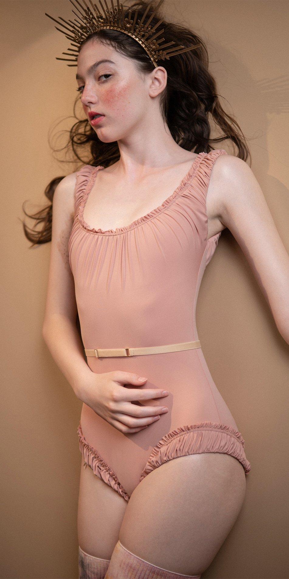 MAIDEN blush leotard with straps 3