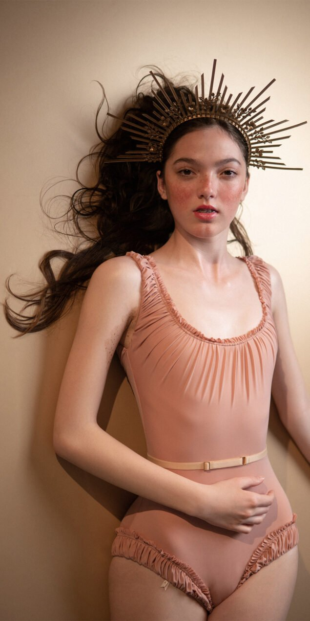 MAIDEN blush leotard with straps 6