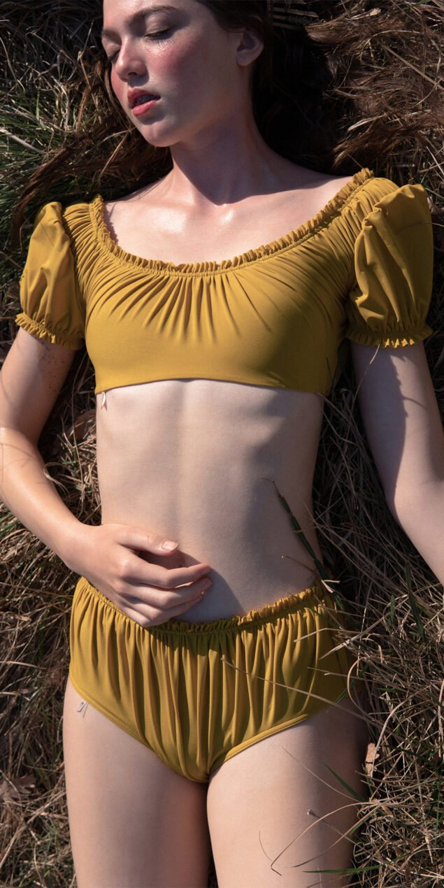MAIDEN mustard crop top with short puff sleeves 2