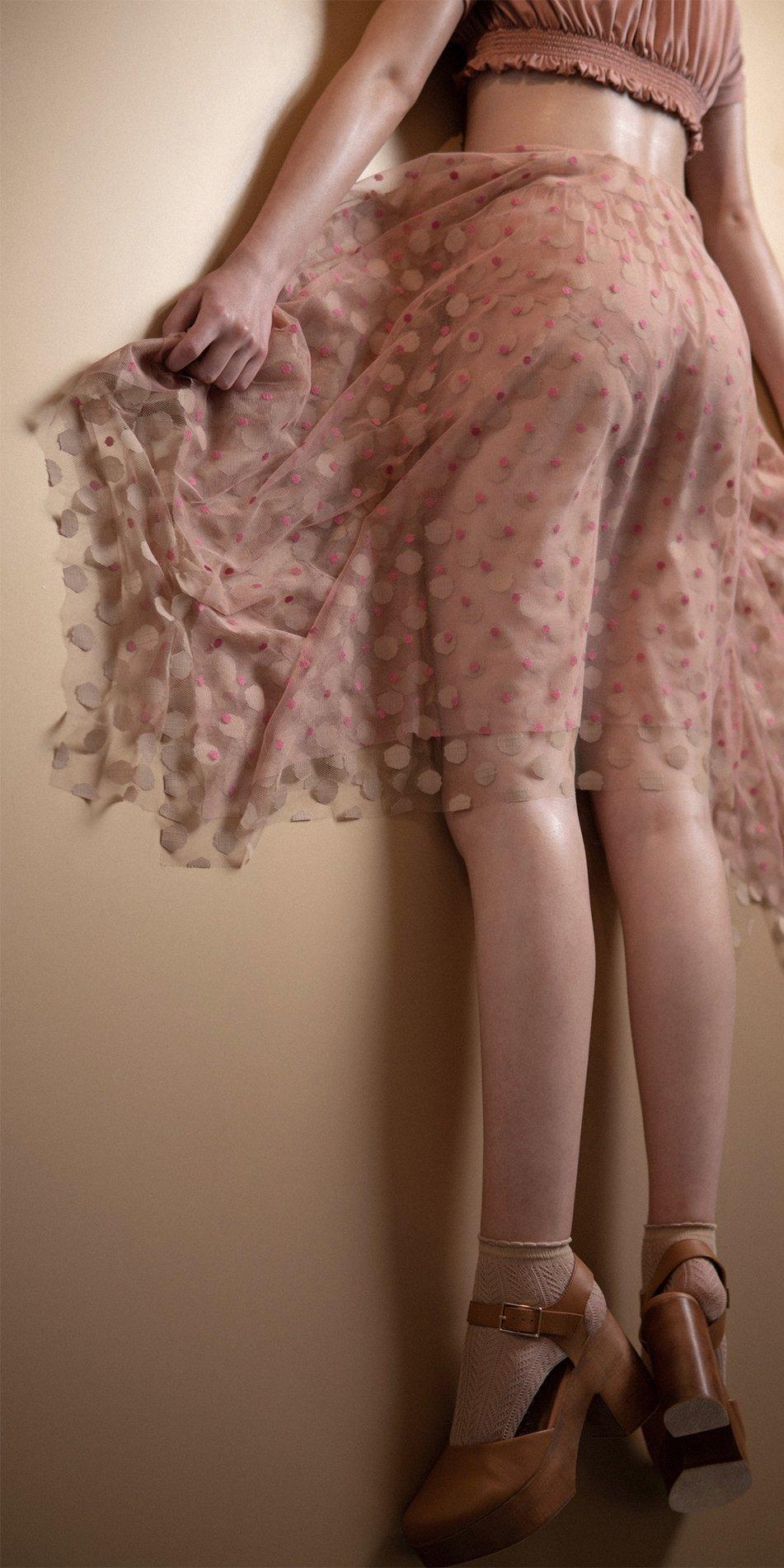 N JUMBO POLKA long skirt blush nude 1