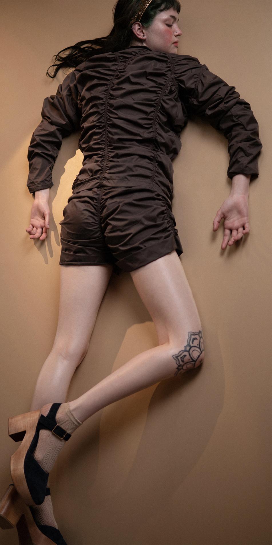 PARA CUTE chocolate draped shorts 2