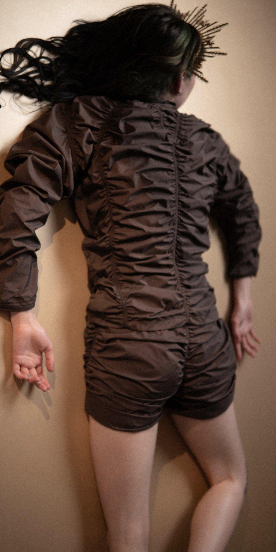 PARA CUTE chocolate draped shorts 3