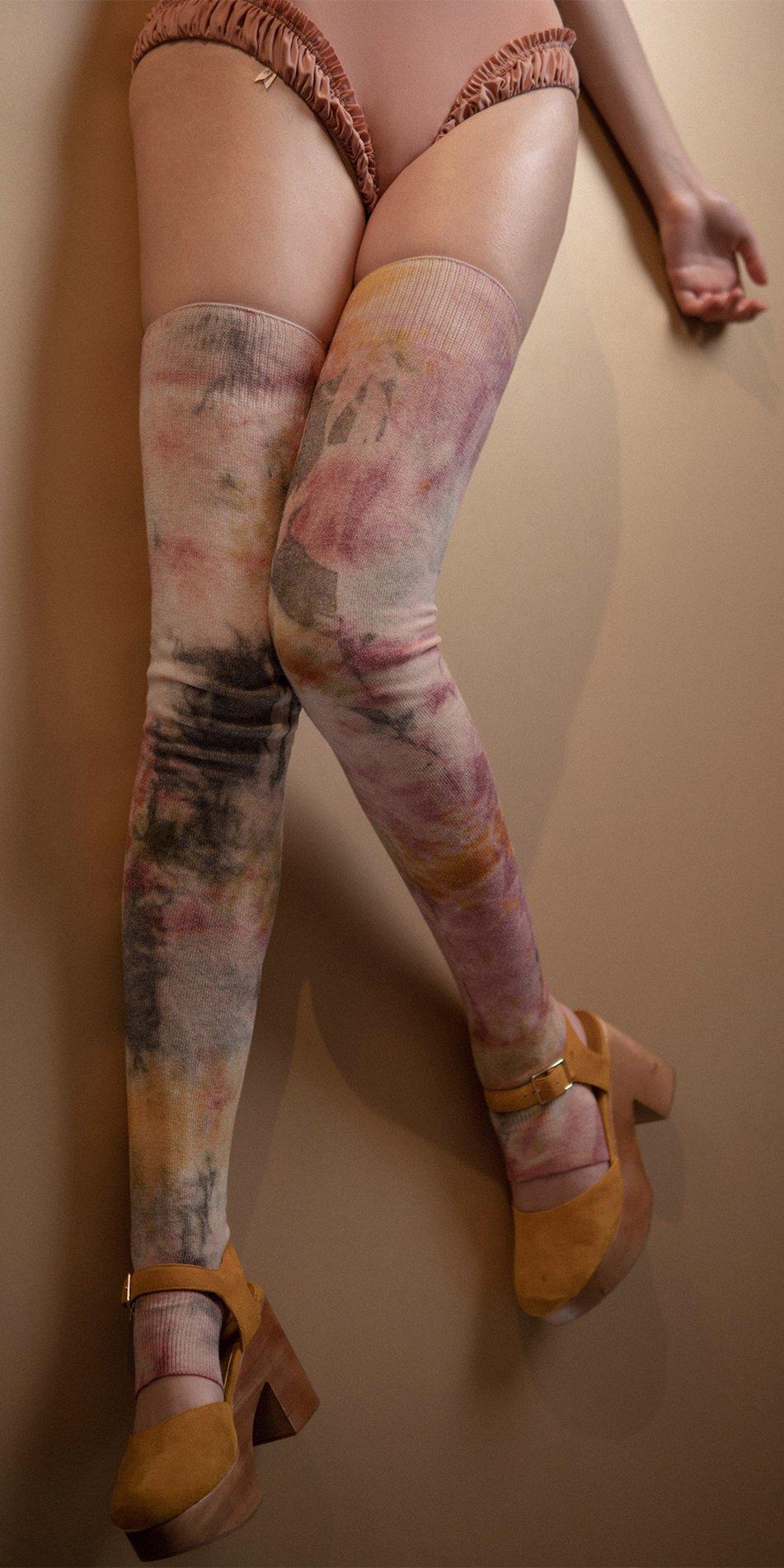 TIETIE DIE KNITWEAR leggings burgundy 1