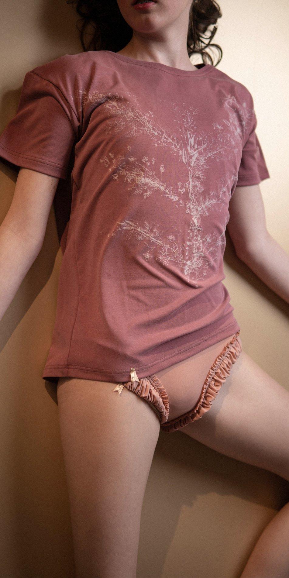 TREE OF LIFE burgundy printed boyfriends t shirt 5
