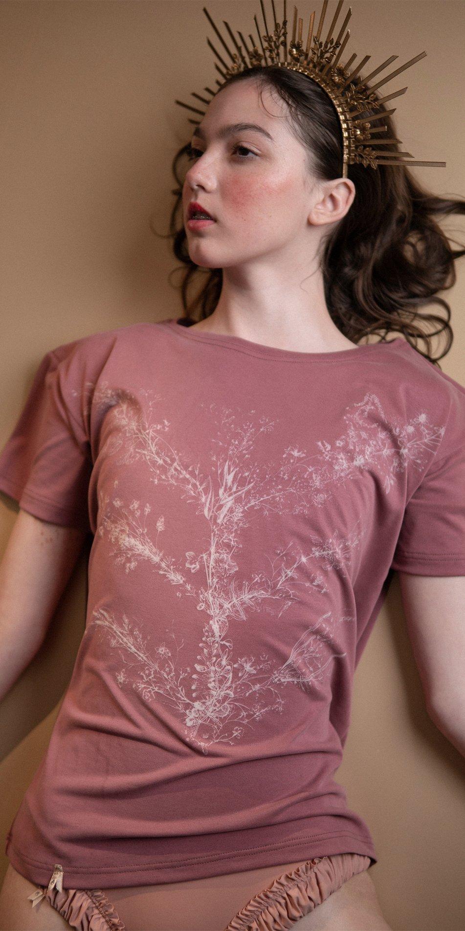 TREE OF LIFE burgundy printed boyfriends t shirt 6