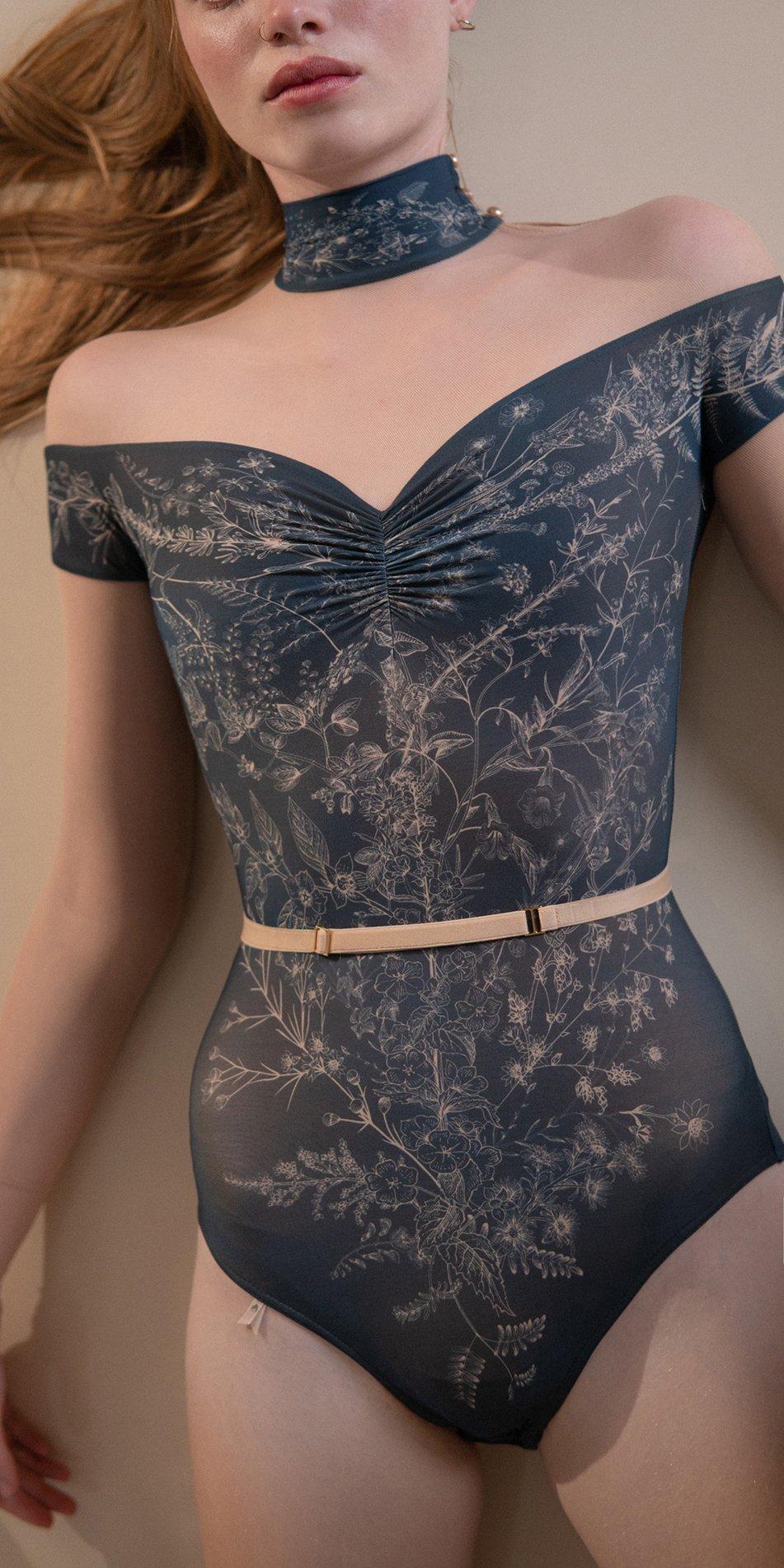 BLOOMY SWEETHEART – off shoulder mesh decolette leotard with sleeves – blue marine 2