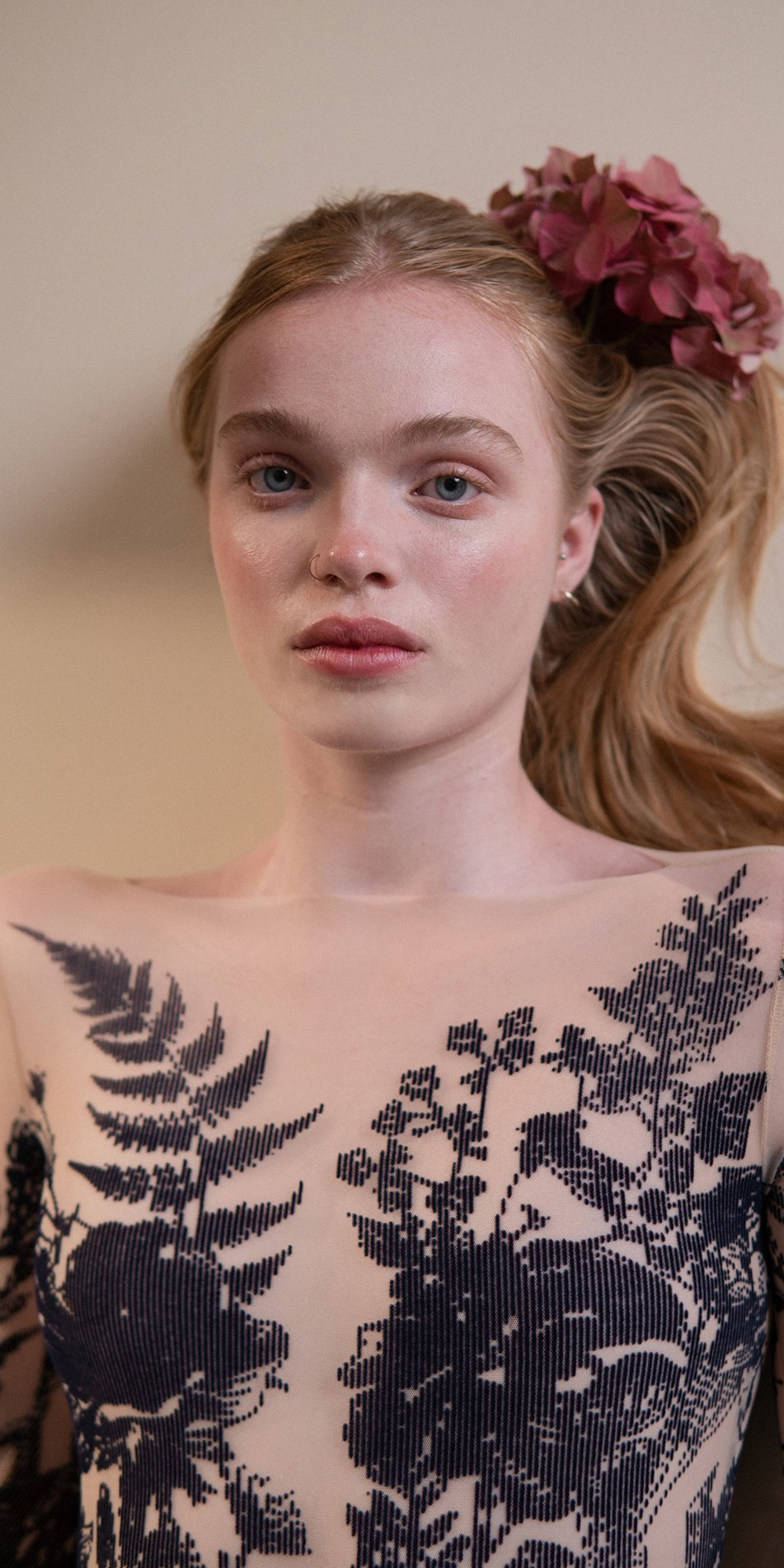 BLOSSOMS – second skin flock print bodysuit – indigo 1 1