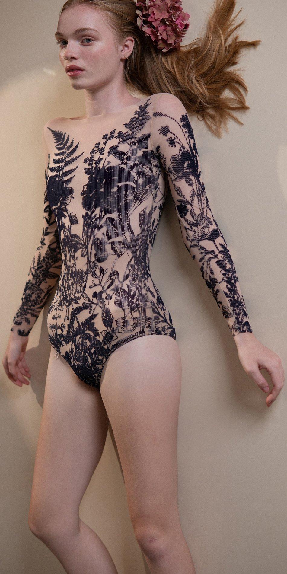 BLOSSOMS – second skin flock print bodysuit – indigo 2 1