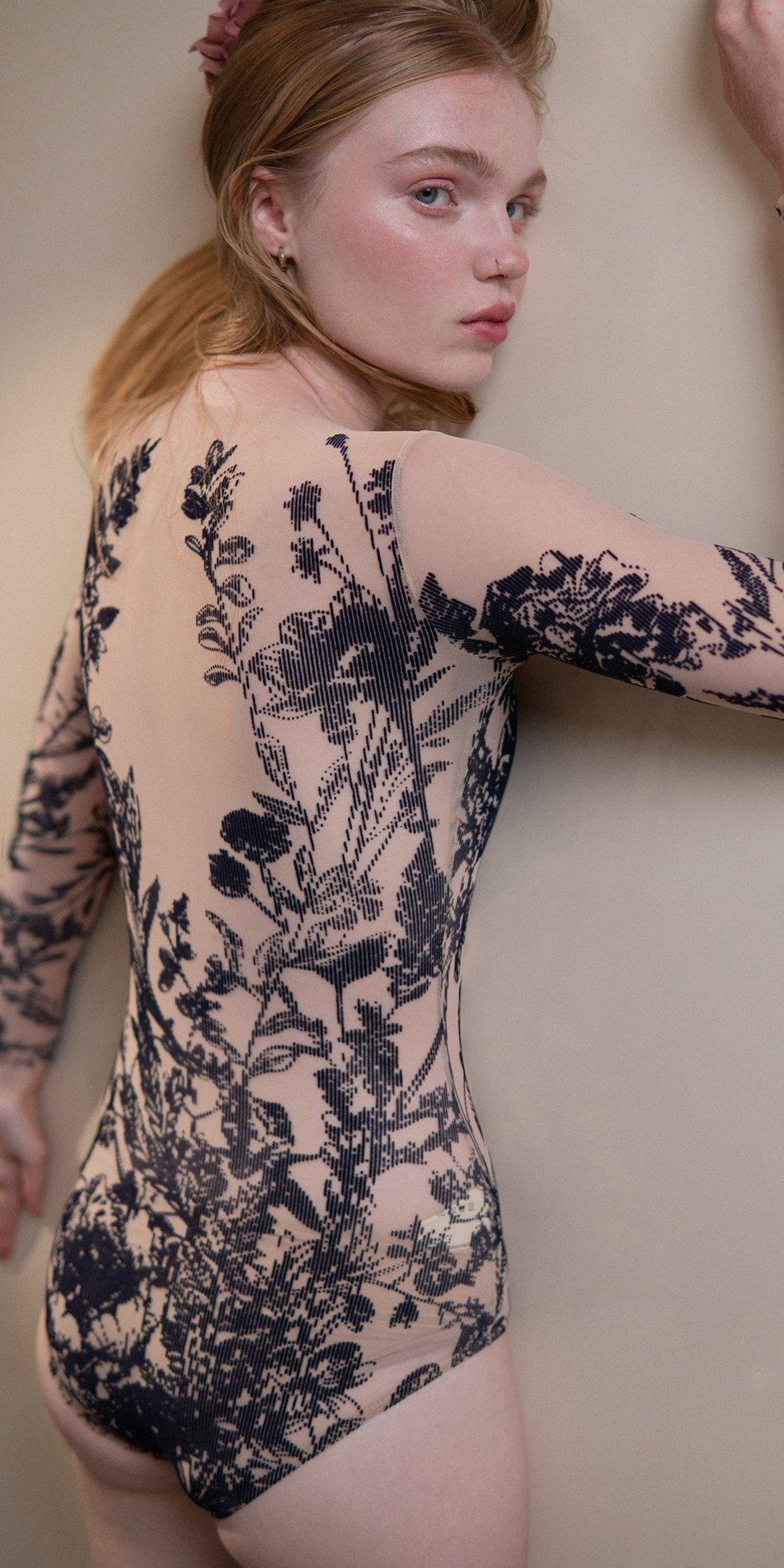 BLOSSOMS – second skin flock print bodysuit – indigo 5 1