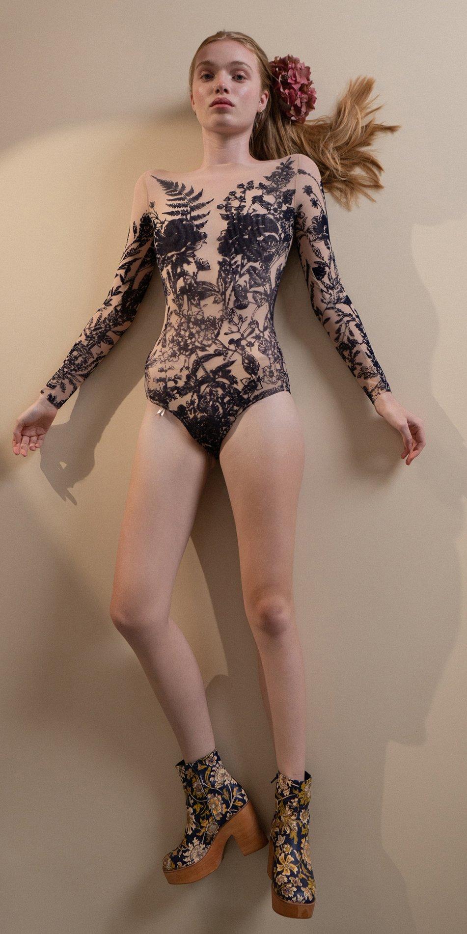 BLOSSOMS – second skin flock print bodysuit – indigo 7 1