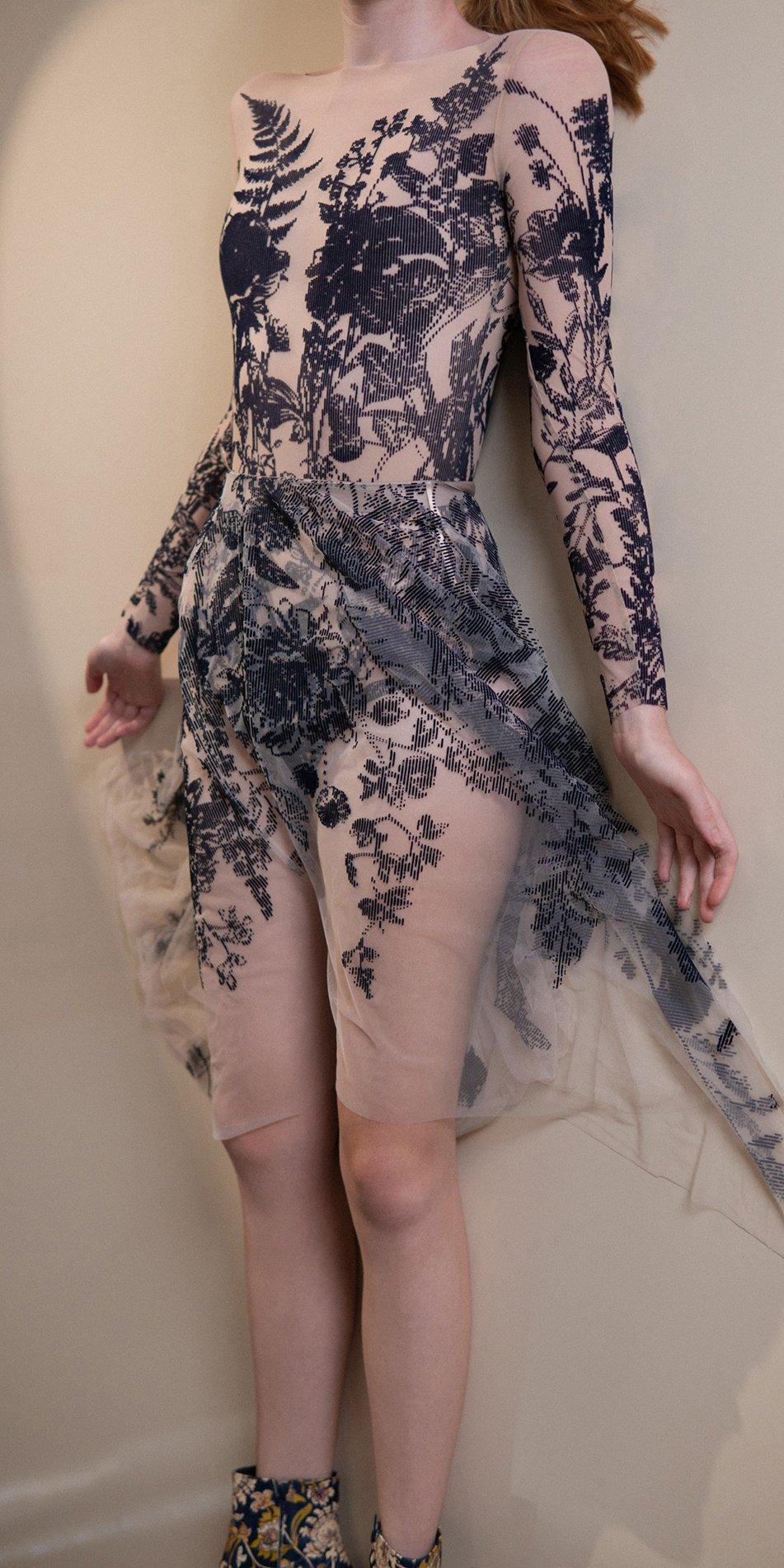BLOSSOMS – second skin flock print skirt – indigo 1