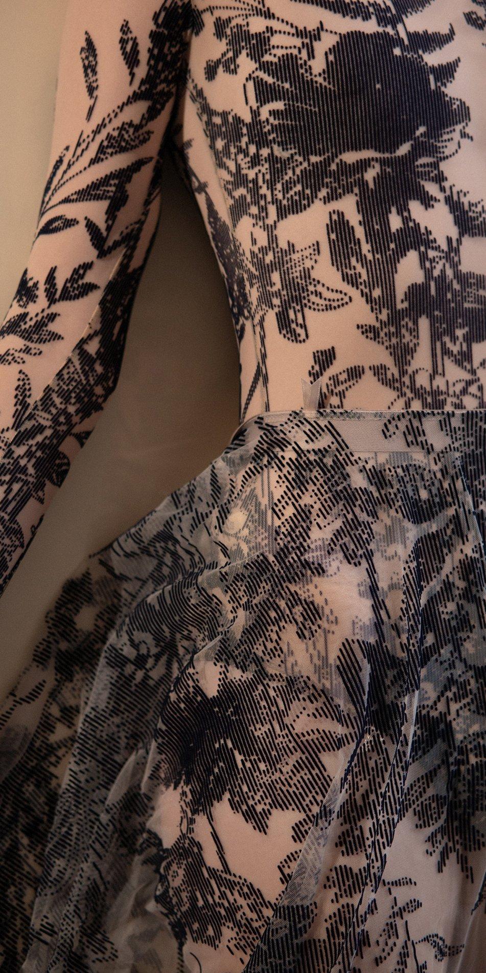BLOSSOMS – second skin flock print skirt – indigo 3