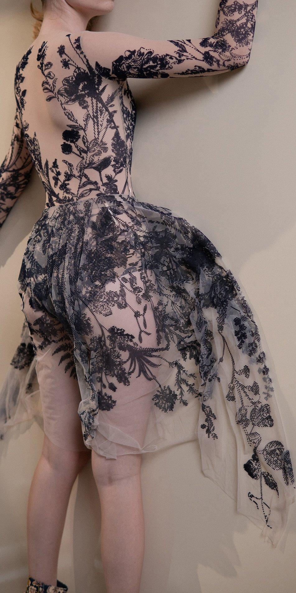 BLOSSOMS – second skin flock print skirt – indigo 4