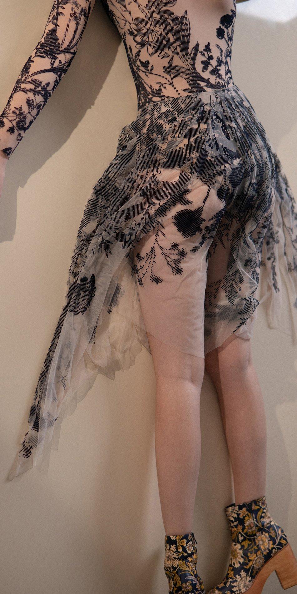 BLOSSOMS – second skin flock print skirt – indigo 5