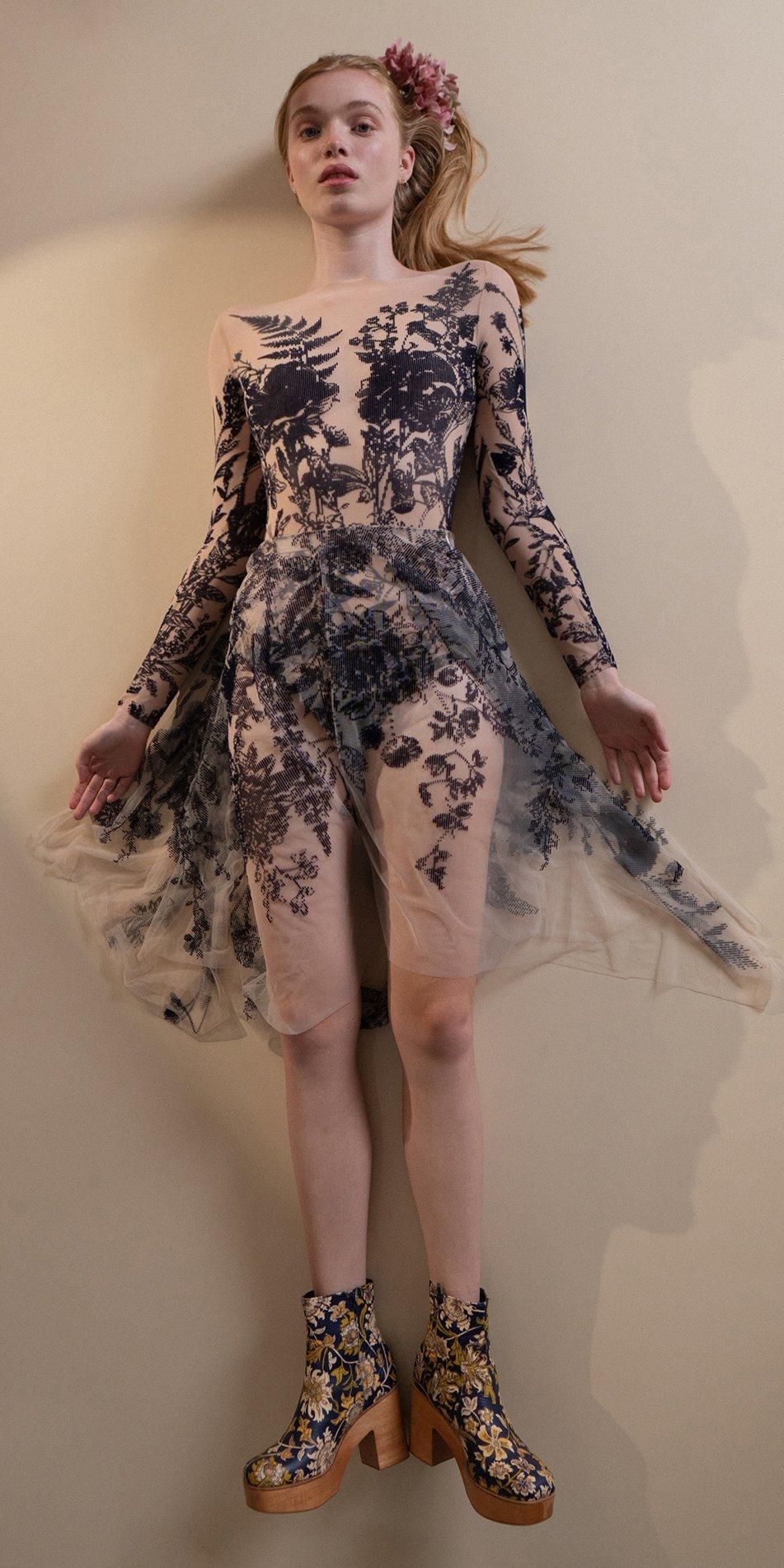 BLOSSOMS – second skin flock print skirt – indigo 6