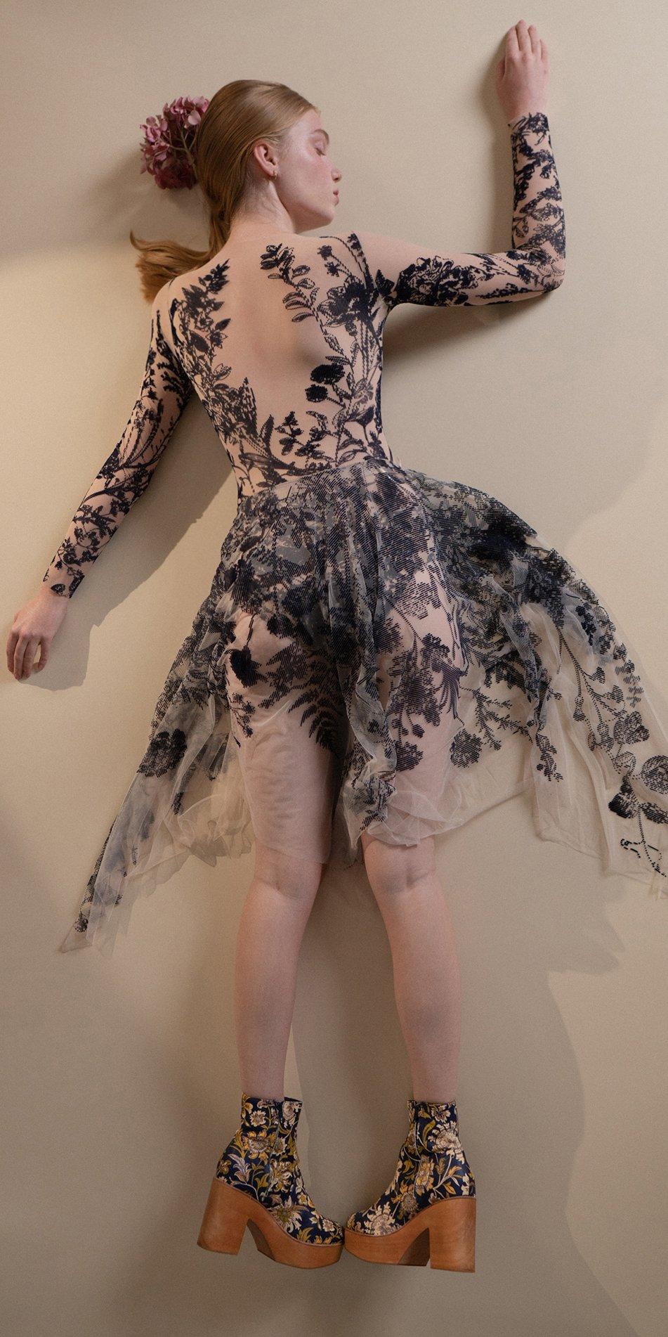 BLOSSOMS – second skin flock print skirt – indigo 7