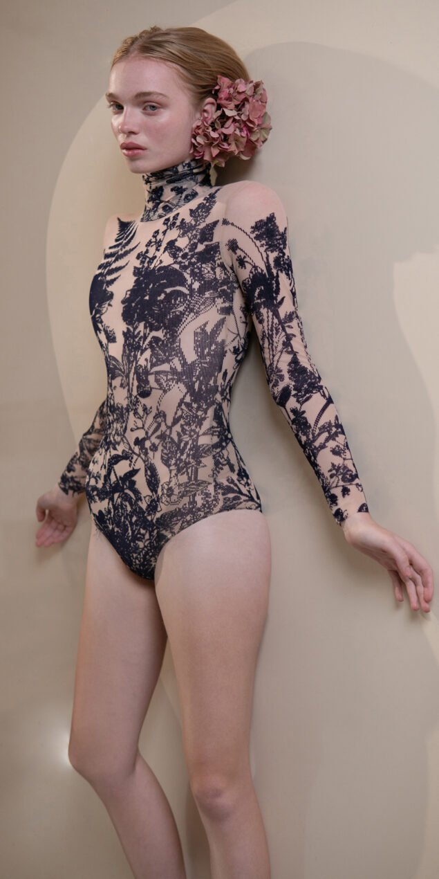 BLOSSOMS – second skin flock print turtleneck bodysuit – indigo 1