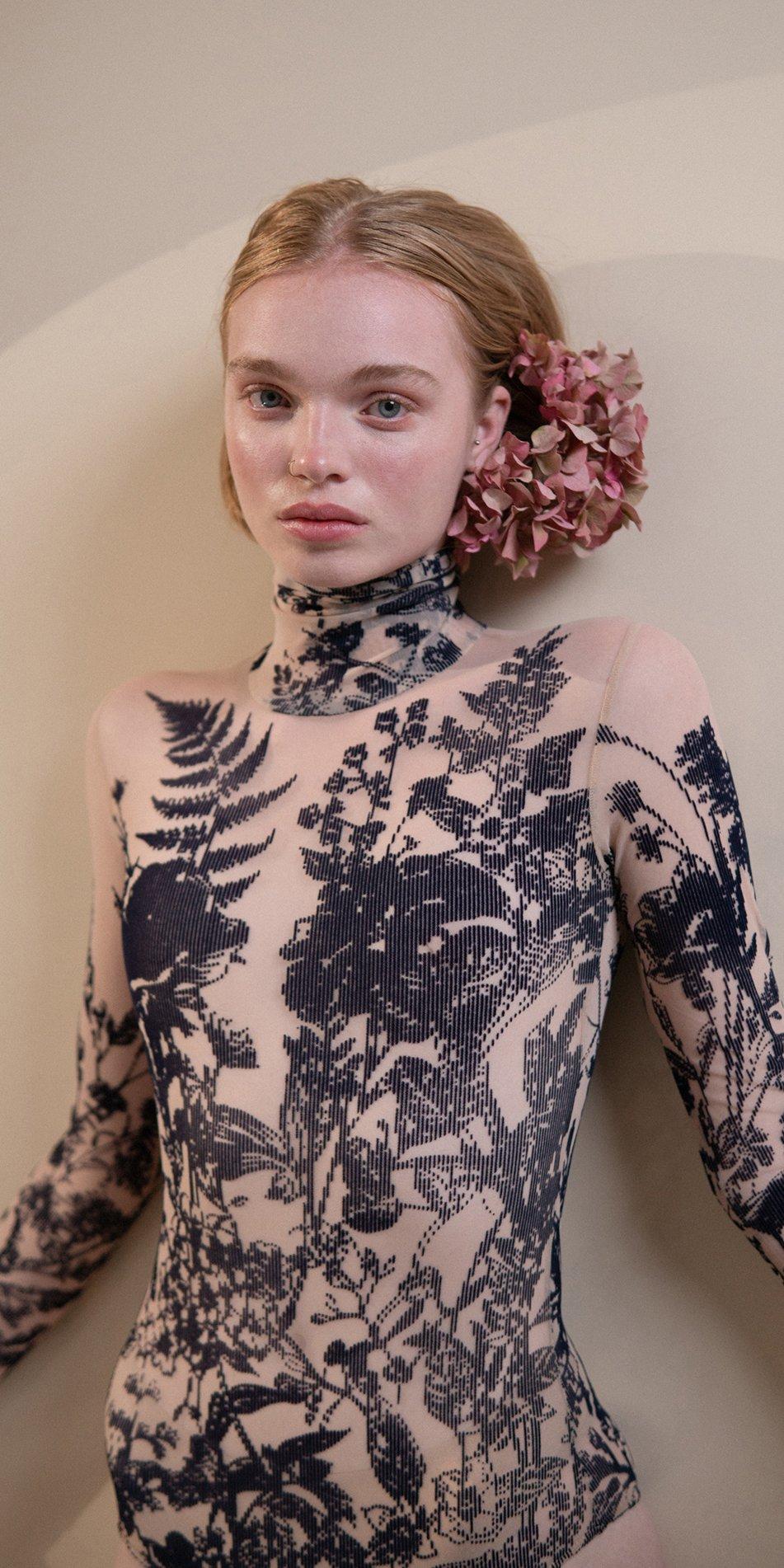 BLOSSOMS – second skin flock print turtleneck bodysuit – indigo 2