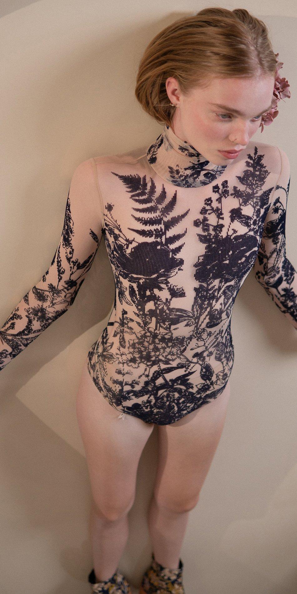 BLOSSOMS – second skin flock print turtleneck bodysuit – indigo 4