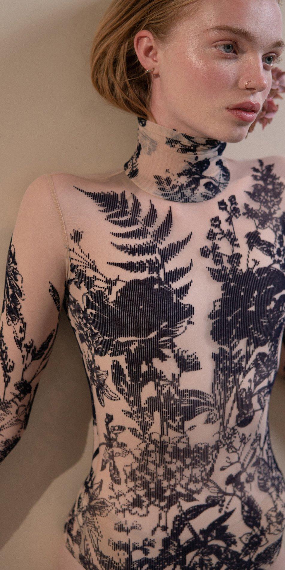 BLOSSOMS – second skin flock print turtleneck bodysuit – indigo 5