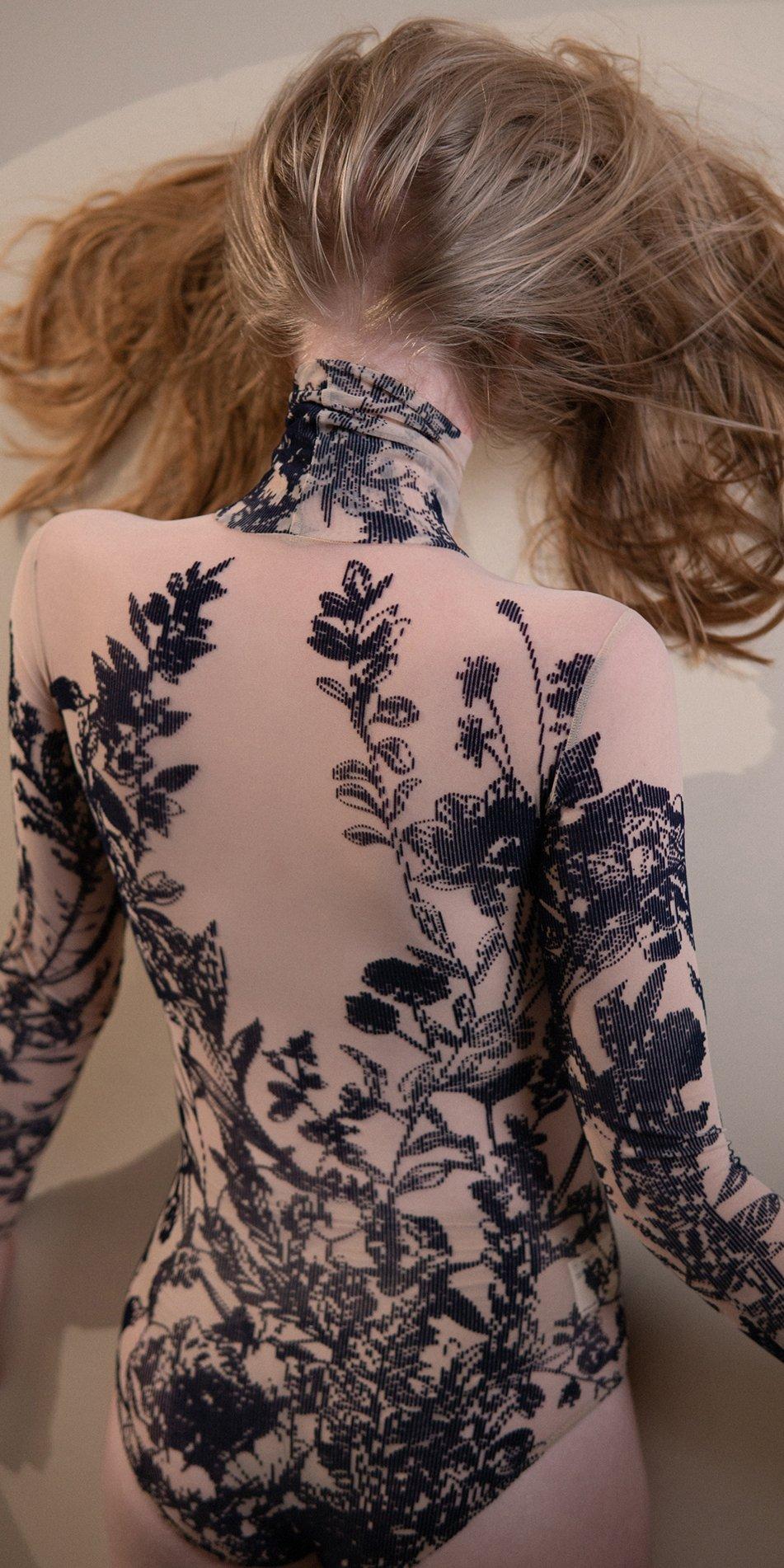 BLOSSOMS – second skin flock print turtleneck bodysuit – indigo 6