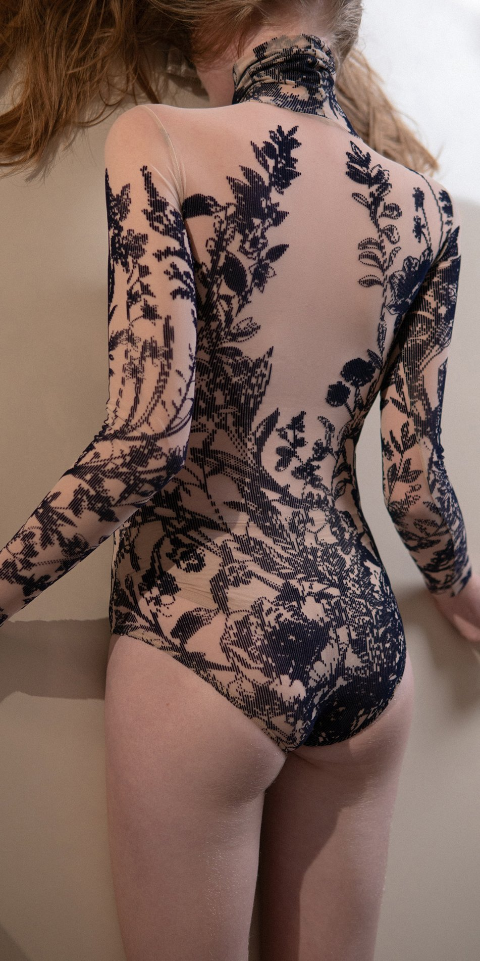 BLOSSOMS – second skin flock print turtleneck bodysuit – indigo 7