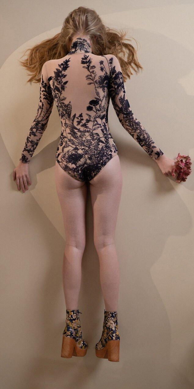 BLOSSOMS – second skin flock print turtleneck bodysuit – indigo 9