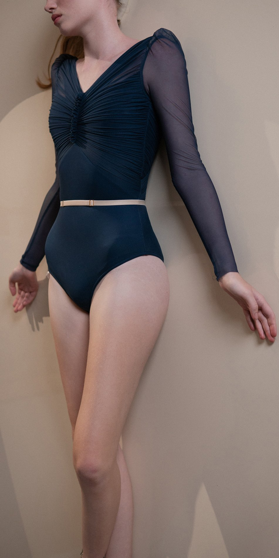 GRES – blue marine draped leotard with long puff sleeves 1
