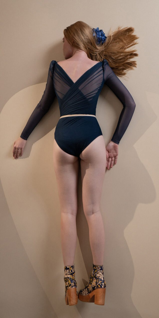 GRES – blue marine draped leotard with long puff sleeves 10
