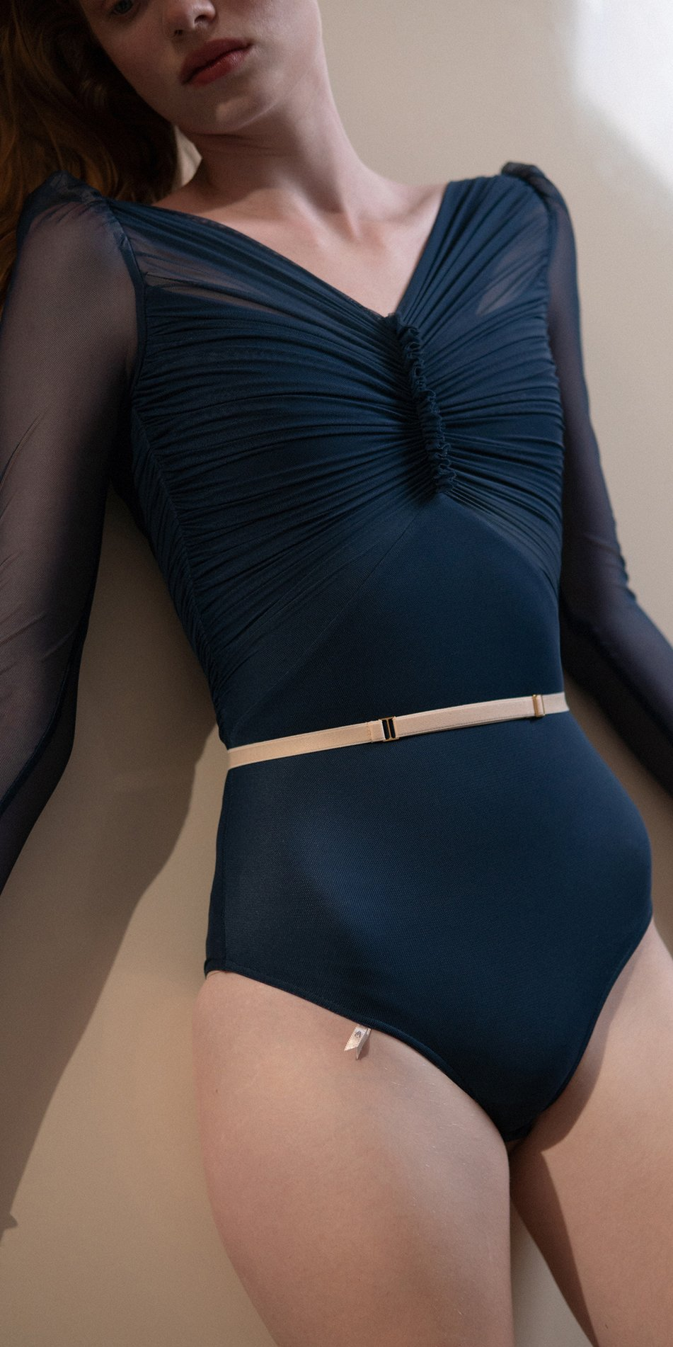 GRES – blue marine draped leotard with long puff sleeves 6