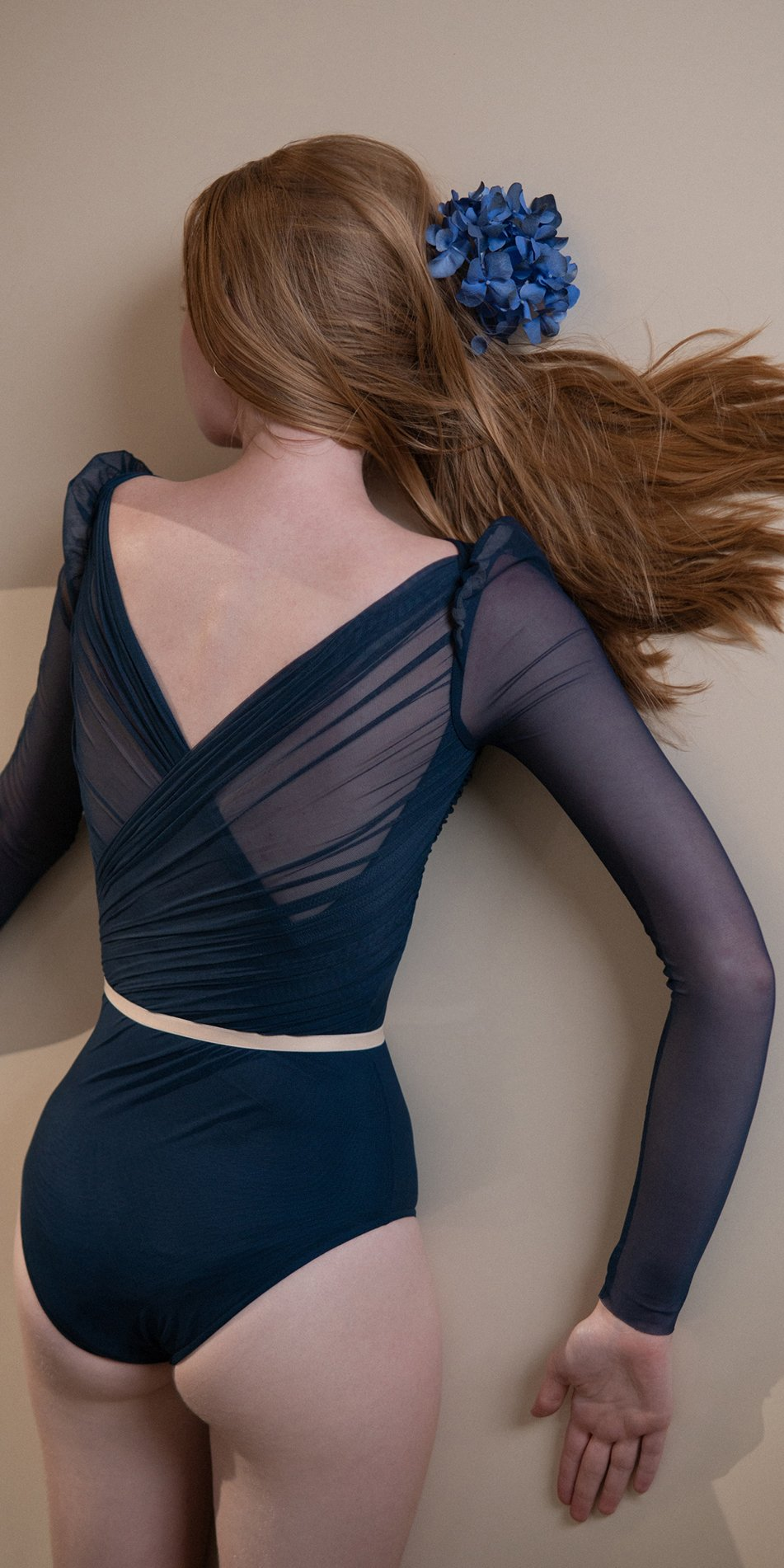 GRES – blue marine draped leotard with long puff sleeves 7