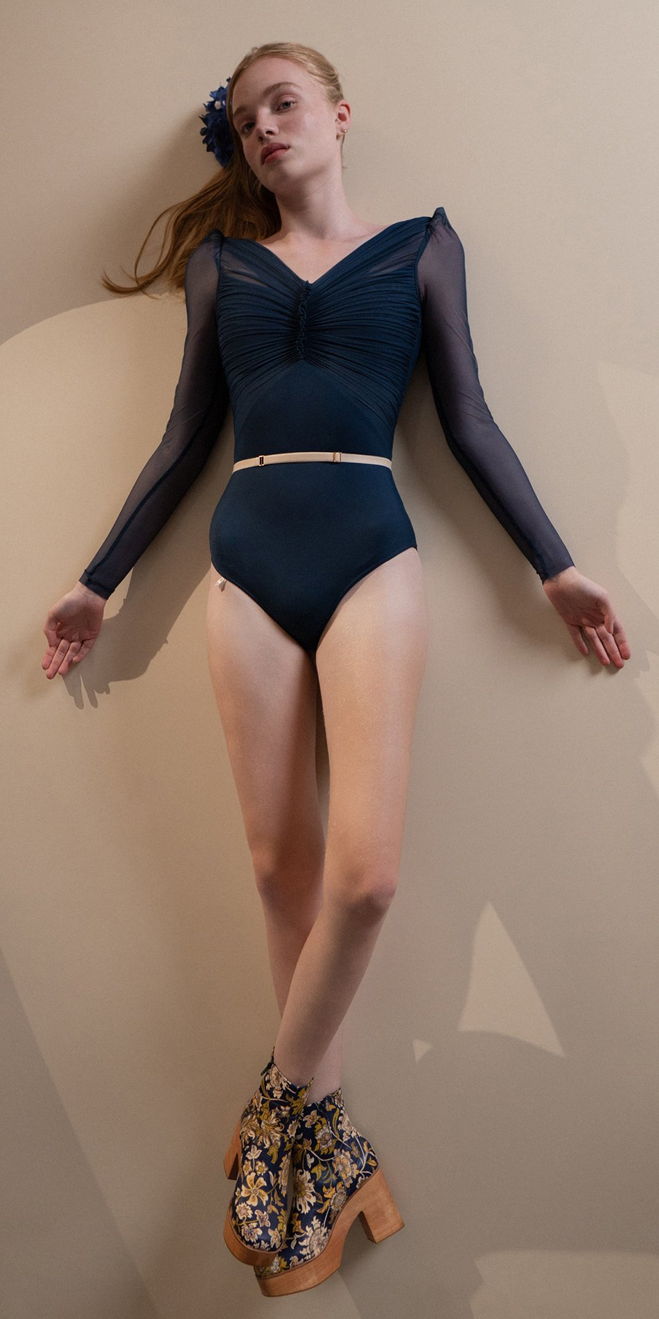 GRES – blue marine draped leotard with long puff sleeves 9