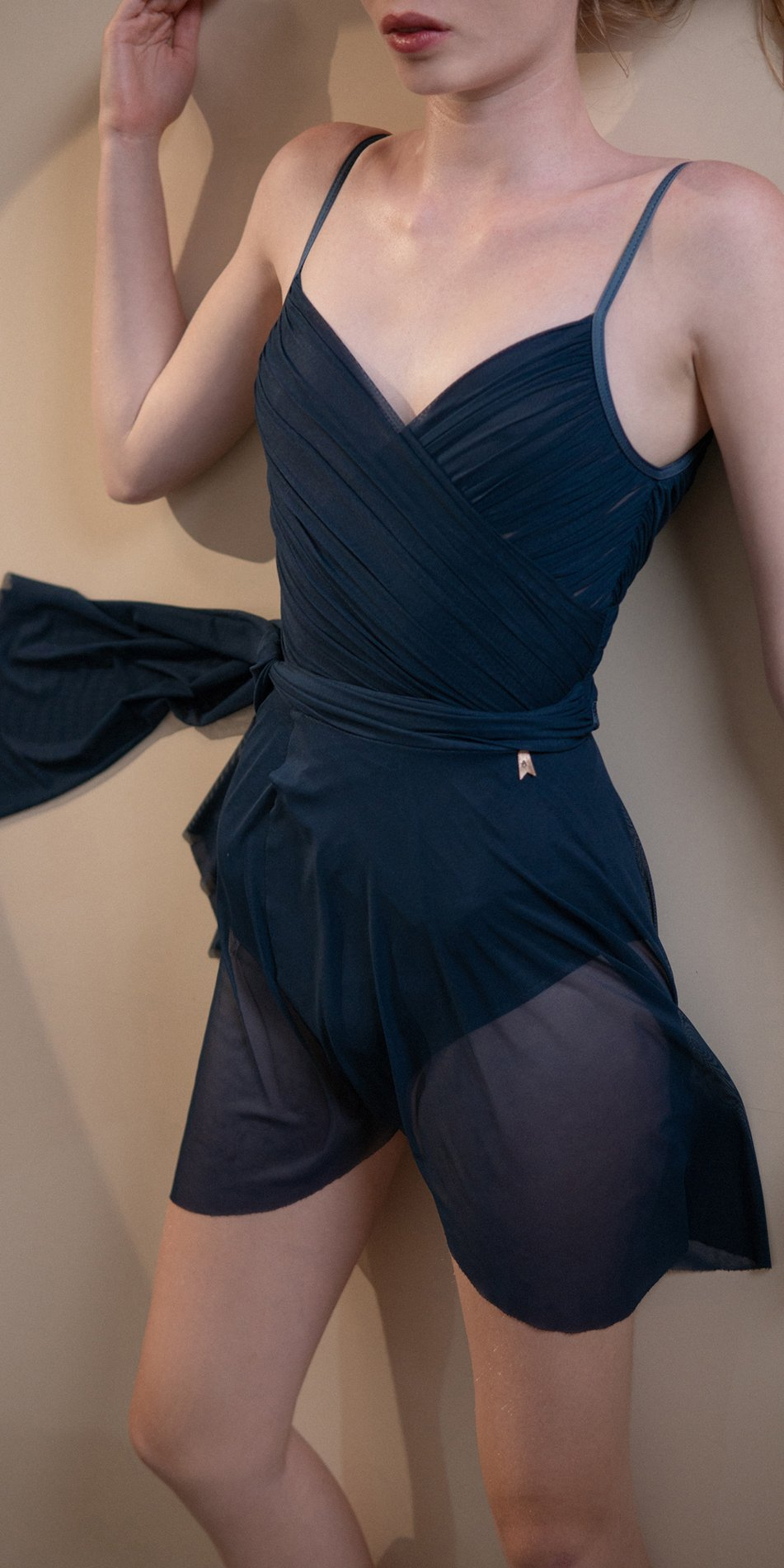 GRES – draped wrap skirt – blue marine 3