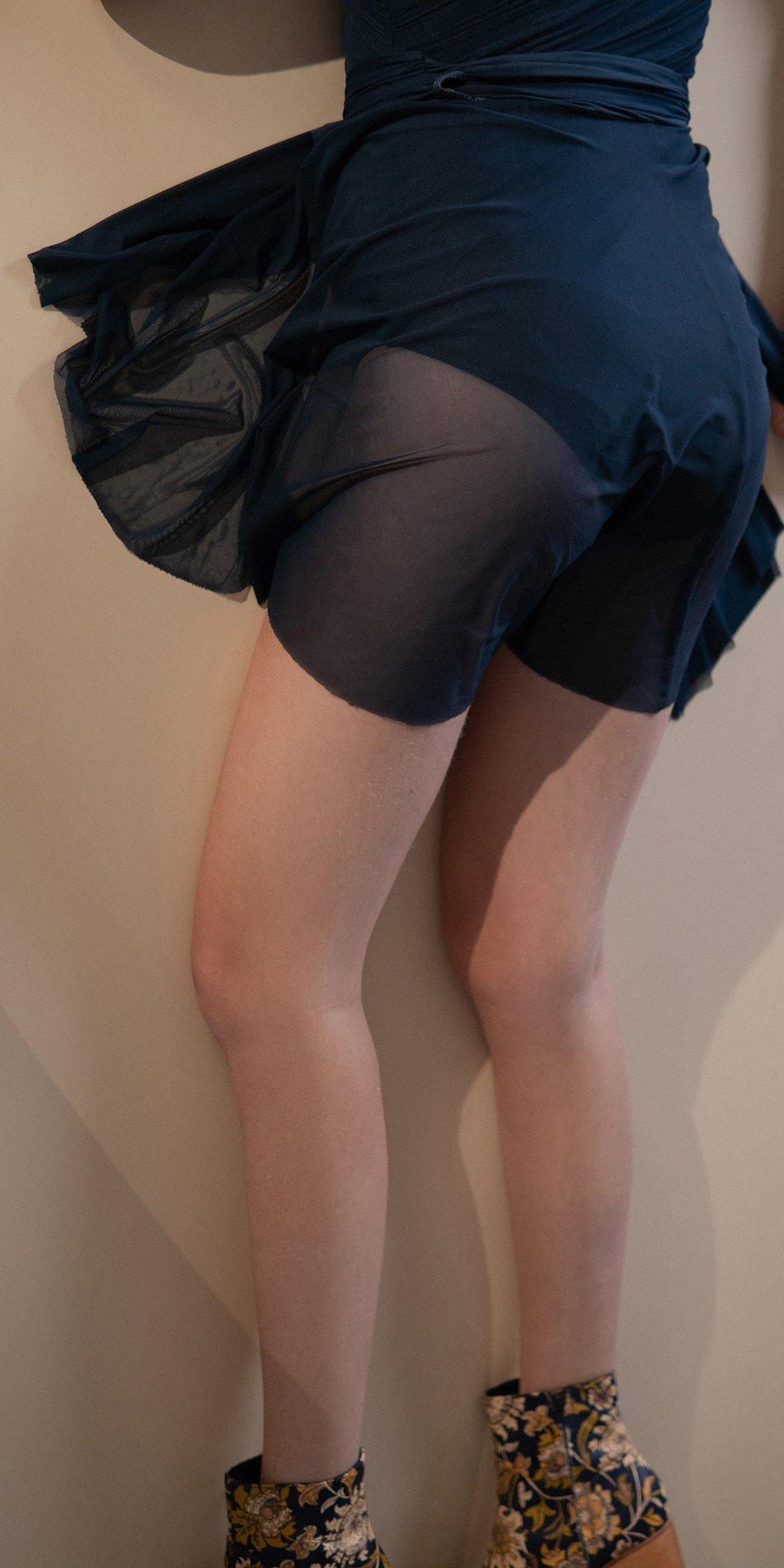 GRES – draped wrap skirt – blue marine 4